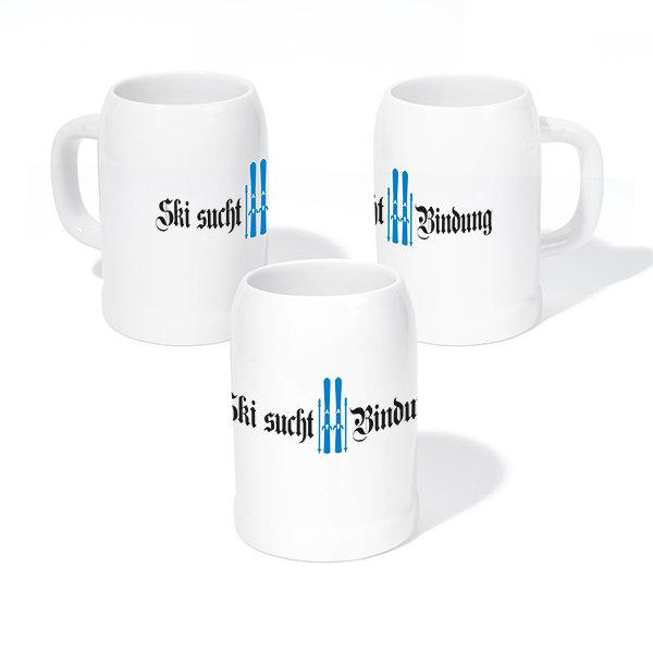 """Steinkrug """"Ski sucht Bindung"""", blau"""