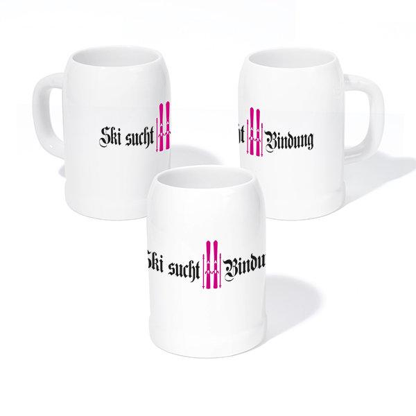 """Steinkrug """"Ski sucht Bindung"""", pink"""