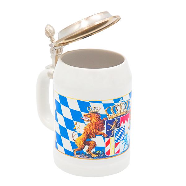 Bayerischer Krug mit Wappen, Raute und Zinndeckel