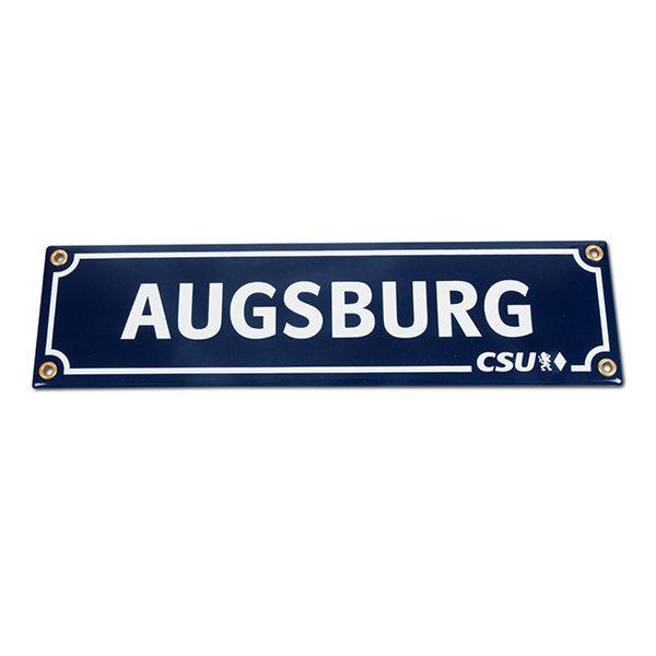 Emailleschild Augsburg & CSU (8 x 30 cm)