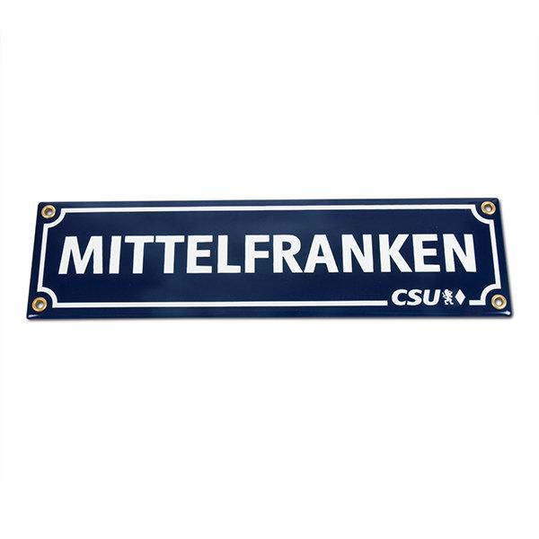 Emailleschild Mittelfranken & CSU (8 x 30 cm)