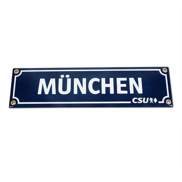 Emailleschild München & CSU (8 x 30 cm)