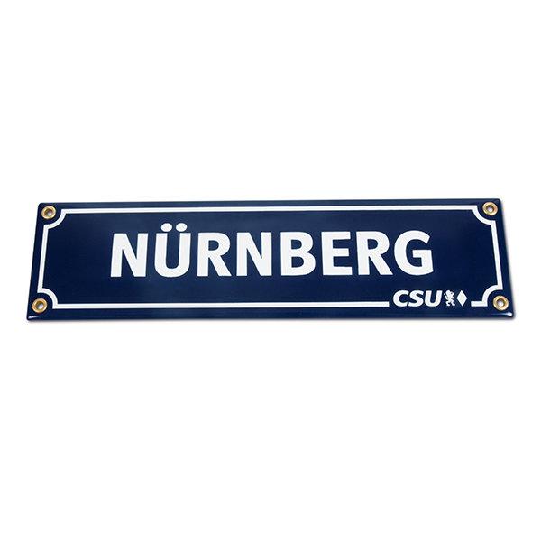 Emailleschild Nürnberg & CSU (8 x 30 cm)