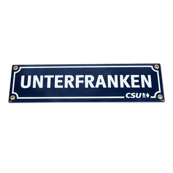 Emailleschild Unterfranken & CSU (8 x 30 cm)